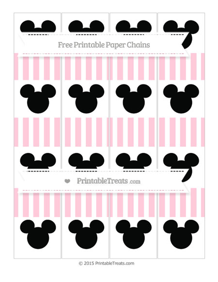 Free Pink Striped Mickey Mouse Paper Chains