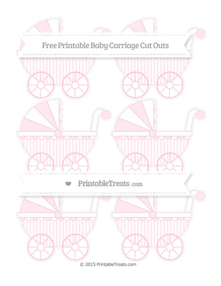 Free Pink Striped Small Baby Carriage Cut Outs