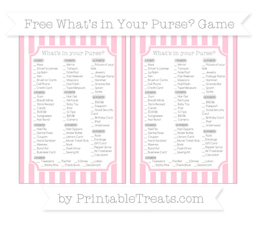 Free Pink Striped What's in Your Purse Baby Shower Game