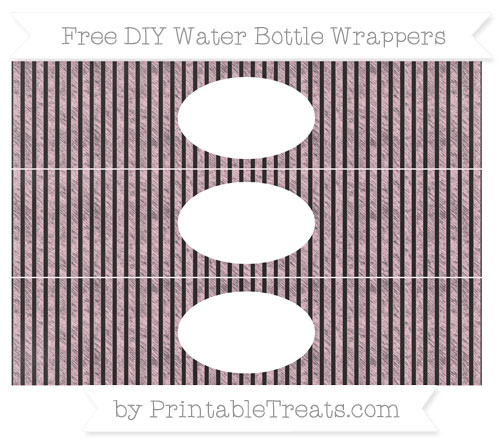 Free Pink Thin Striped Pattern Chalk Style DIY Water Bottle Wrappers