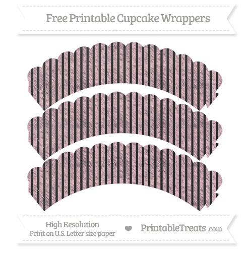 Free Pink Thin Striped Pattern Chalk Style Scalloped Cupcake Wrappers