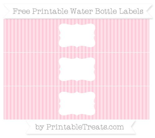 Free Pink Thin Striped Pattern Water Bottle Labels