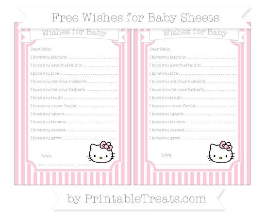 Free Pink Thin Striped Pattern Hello Kitty Wishes for Baby Sheets