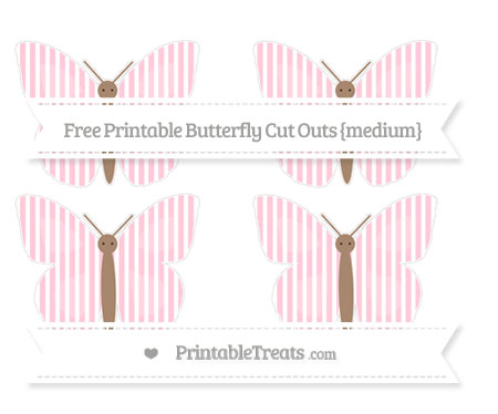 Free Pink Thin Striped Pattern Medium Butterfly Cut Outs
