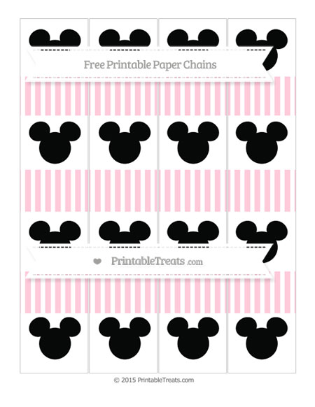 Free Pink Thin Striped Pattern Mickey Mouse Paper Chains