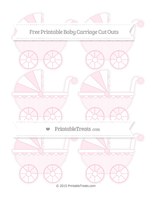 Free Pink Thin Striped Pattern Small Baby Carriage Cut Outs