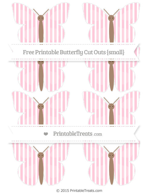 Free Pink Thin Striped Pattern Small Butterfly Cut Outs