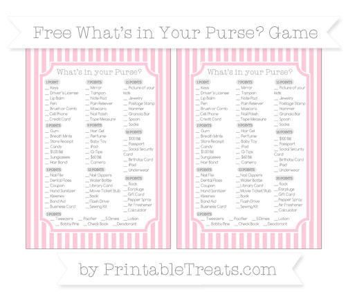 Free Pink Thin Striped Pattern What's in Your Purse Baby Shower Game