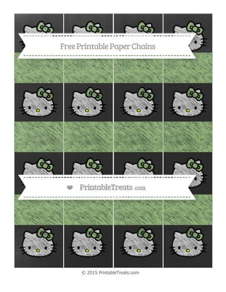 Free Pistachio Green Chalk Style Hello Kitty Paper Chains