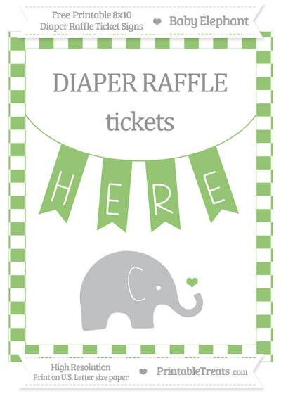 Free Pistachio Green Checker Pattern Baby Elephant 8x10 Diaper Raffle Ticket Sign