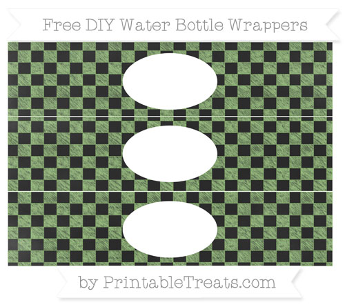 Free Pistachio Green Checker Pattern Chalk Style DIY Water Bottle Wrappers