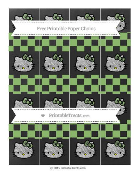 Free Pistachio Green Checker Pattern Chalk Style Hello Kitty Paper Chains