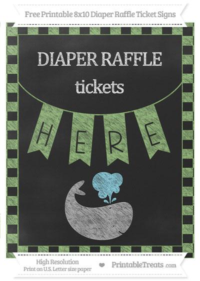 Free Pistachio Green Checker Pattern Chalk Style Whale 8x10 Diaper Raffle Ticket Sign