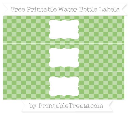 Free Pistachio Green Checker Pattern Water Bottle Labels