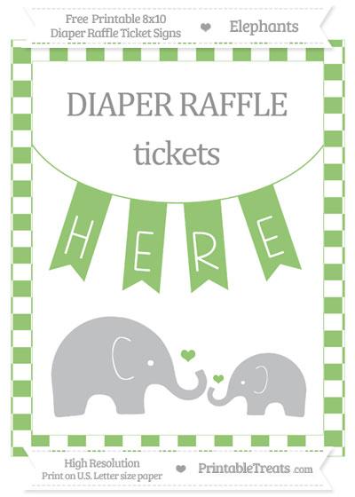 Free Pistachio Green Checker Pattern Elephant 8x10 Diaper Raffle Ticket Sign