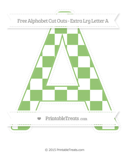 Free Pistachio Green Checker Pattern Extra Large Capital Letter A Cut Outs