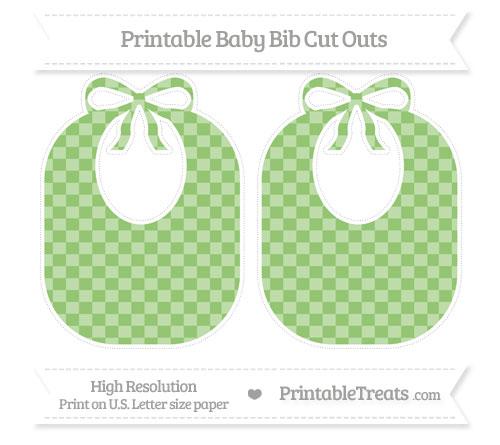 Free Pistachio Green Checker Pattern Large Baby Bib Cut Outs