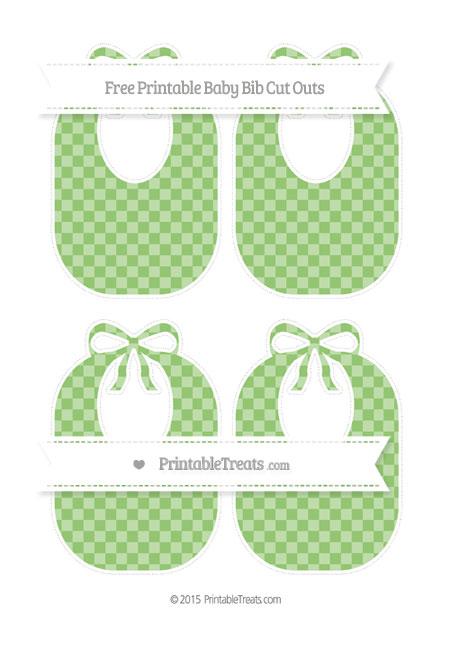 Free Pistachio Green Checker Pattern Medium Baby Bib Cut Outs