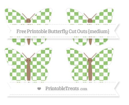 Free Pistachio Green Checker Pattern Medium Butterfly Cut Outs