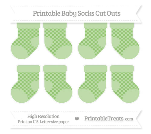 Free Pistachio Green Checker Pattern Small Baby Socks Cut Outs