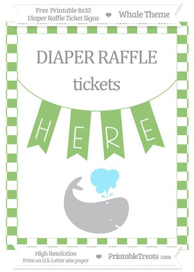 Free Pistachio Green Checker Pattern Whale 8x10 Diaper Raffle Ticket Sign
