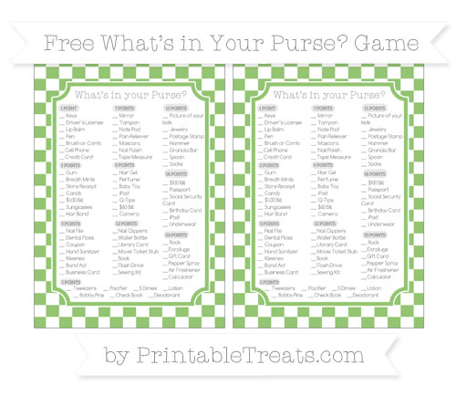 Free Pistachio Green Checker Pattern What's in Your Purse Baby Shower Game