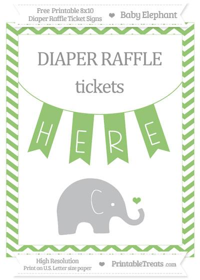 Free Pistachio Green Chevron Baby Elephant 8x10 Diaper Raffle Ticket Sign