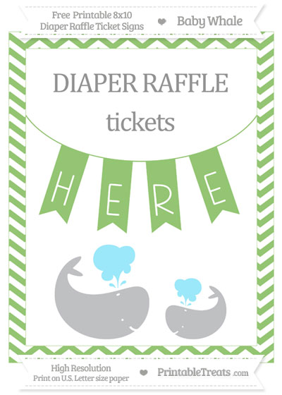 Free Pistachio Green Chevron Baby Whale 8x10 Diaper Raffle Ticket Sign