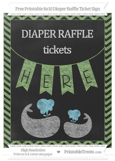 Free Pistachio Green Chevron Chalk Style Baby Whale 8x10 Diaper Raffle Ticket Sign