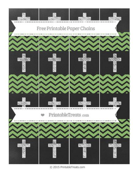 Free Pistachio Green Chevron Chalk Style Cross Paper Chains