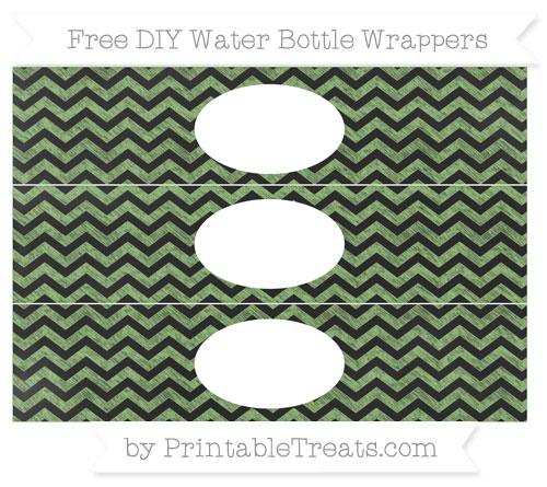 Free Pistachio Green Chevron Chalk Style DIY Water Bottle Wrappers