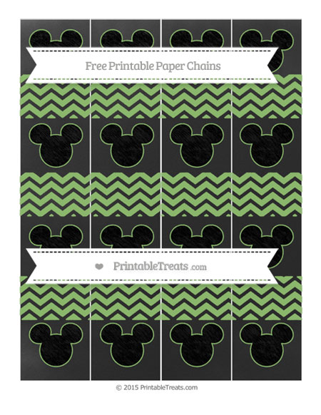 Free Pistachio Green Chevron Chalk Style Mickey Mouse Paper Chains