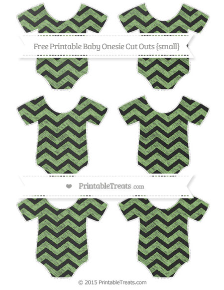 Free Pistachio Green Chevron Chalk Style Small Baby Onesie Cut Outs