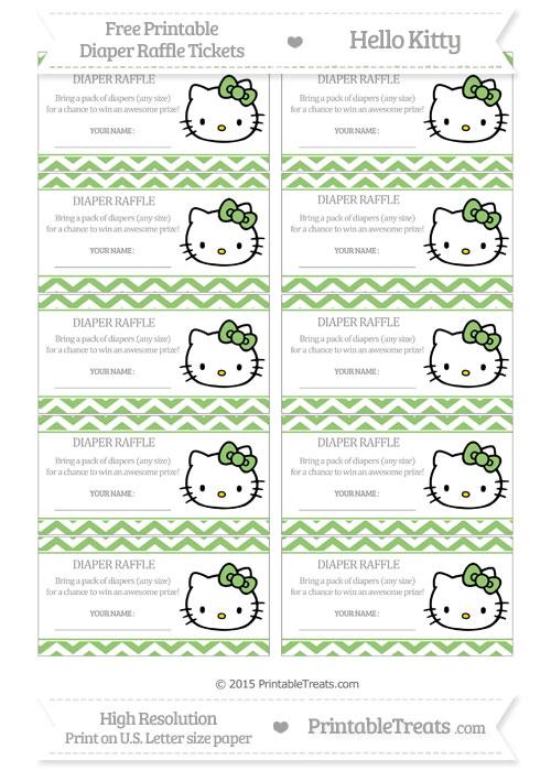 Free Pistachio Green Chevron Hello Kitty Diaper Raffle Tickets