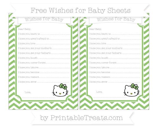 Free Pistachio Green Chevron Hello Kitty Wishes for Baby Sheets