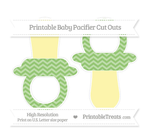 Free Pistachio Green Chevron Large Baby Pacifier Cut Outs