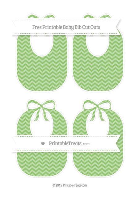 Free Pistachio Green Chevron Medium Baby Bib Cut Outs