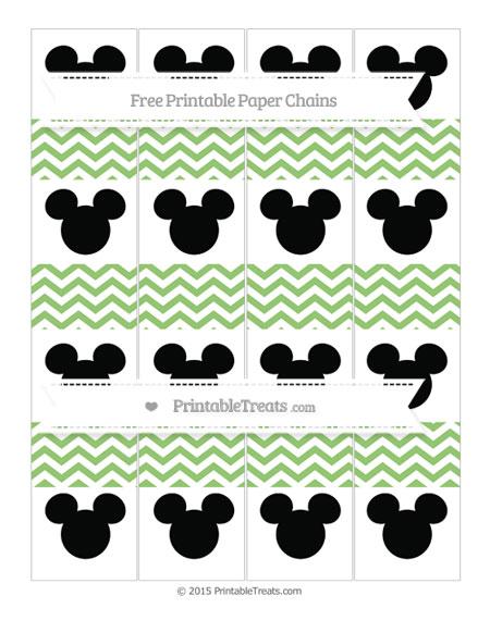 Free Pistachio Green Chevron Mickey Mouse Paper Chains