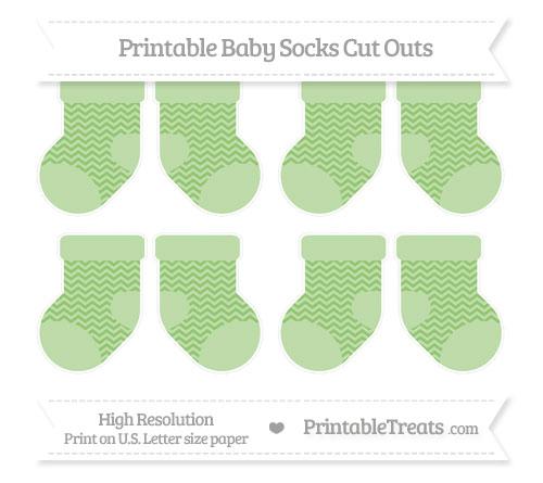 Free Pistachio Green Chevron Small Baby Socks Cut Outs