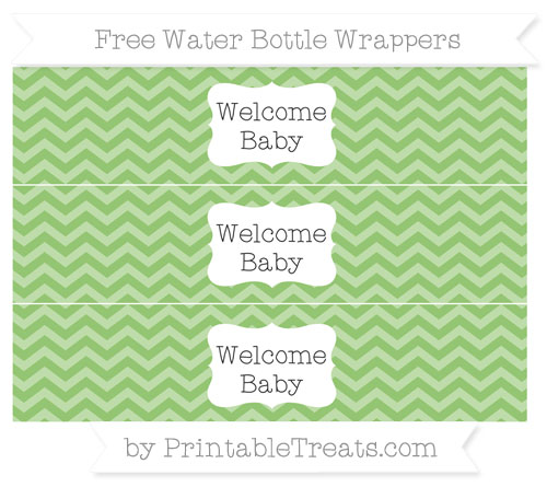 Free Pistachio Green Chevron Welcome Baby Water Bottle Wrappers