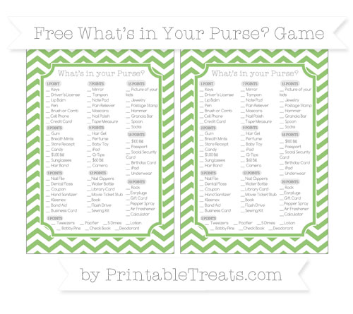 Free Pistachio Green Chevron What's in Your Purse Baby Shower Game