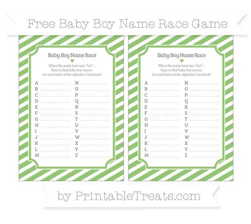 Free Pistachio Green Diagonal Striped Baby Boy Name Race Game
