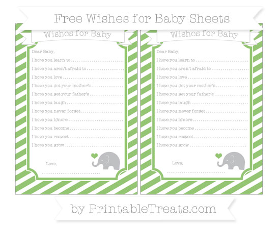Free Pistachio Green Diagonal Striped Baby Elephant Wishes for Baby Sheets