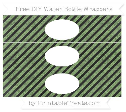 Free Pistachio Green Diagonal Striped Chalk Style DIY Water Bottle Wrappers