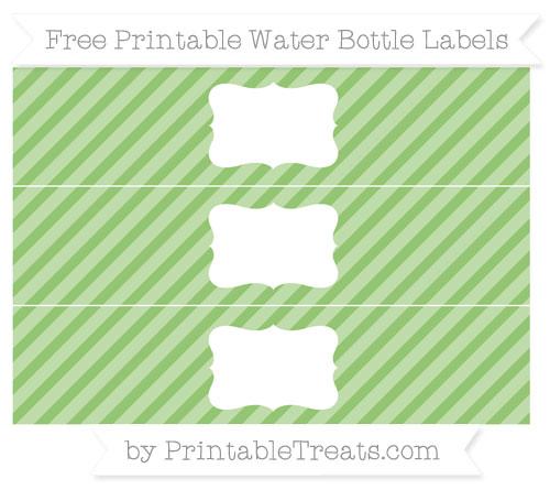 Free Pistachio Green Diagonal Striped Water Bottle Labels