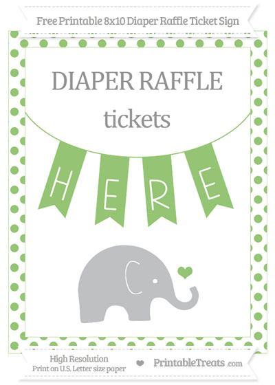 Free Pistachio Green Dotted Baby Elephant 8x10 Diaper Raffle Ticket Sign