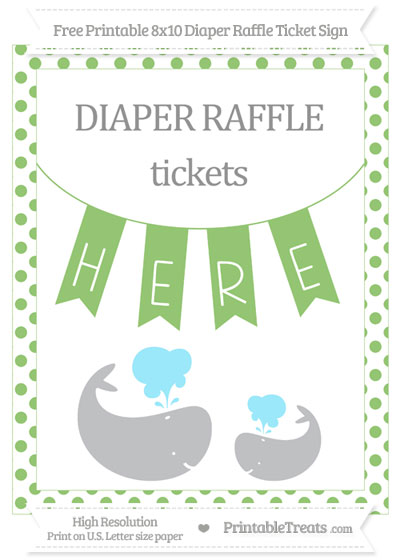 Free Pistachio Green Dotted Baby Whale 8x10 Diaper Raffle Ticket Sign