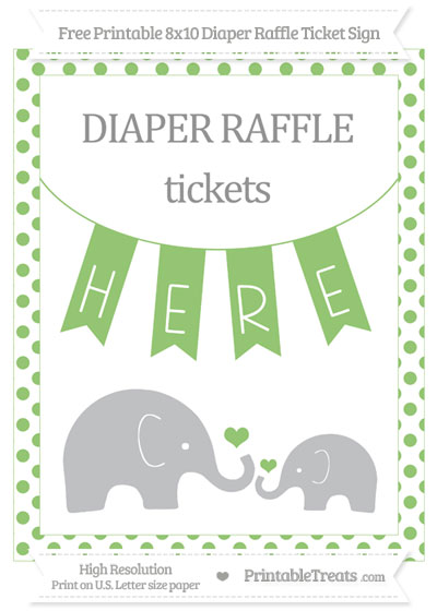 Free Pistachio Green Dotted Elephant 8x10 Diaper Raffle Ticket Sign