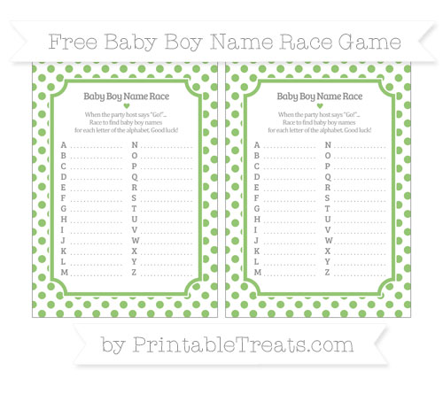 Free Pistachio Green Dotted Pattern Baby Boy Name Race Game
