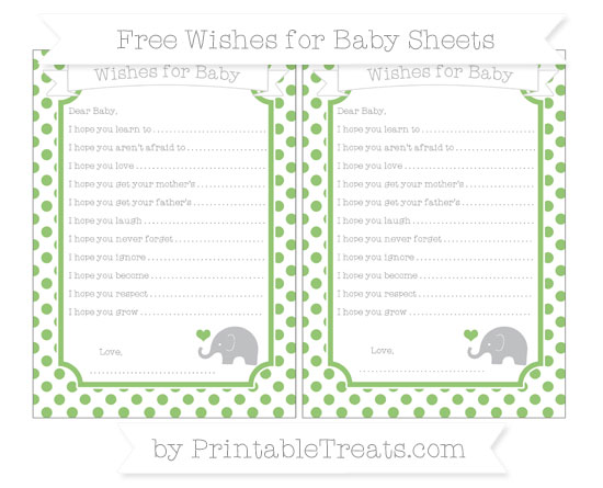 Free Pistachio Green Dotted Pattern Baby Elephant Wishes for Baby Sheets